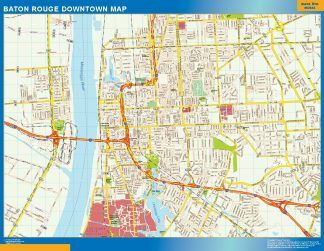 Mapa Baton Rouge downtown enmarcado plastificado