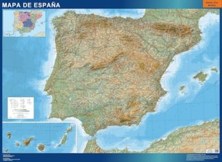 Mapa Espana Relieve enmarcado plastificado