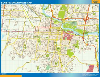 Mapa Eugene downtown enmarcado plastificado
