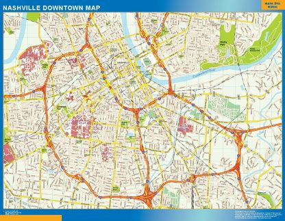 Mapa Nashville downtown enmarcado plastificado