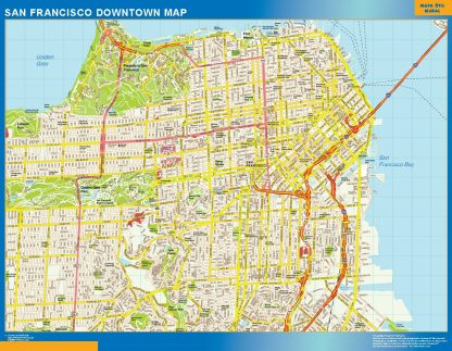 Mapa San Francisco downtown enmarcado plastificado