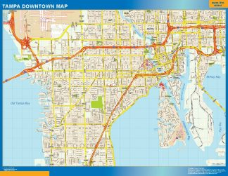 Mapa Tampa downtown enmarcado plastificado