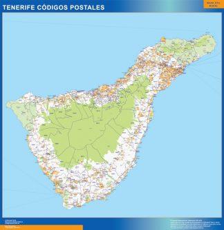Isla Tenerife códigos postales enmarcado plastificado