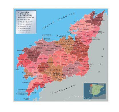 Mapa A Coruna por municipios enmarcado plastificado