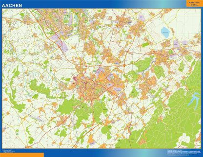 Mapa Aachen en Alemania enmarcado plastificado