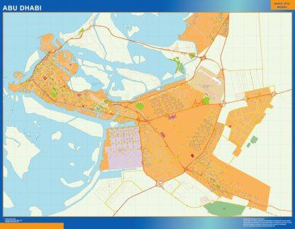 Mapa Abu Dhabi enmarcado plastificado