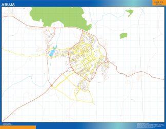 Mapa Abuja en Nigeria enmarcado plastificado