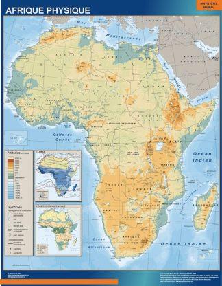 Mapa Africa Fisico enmarcado plastificado
