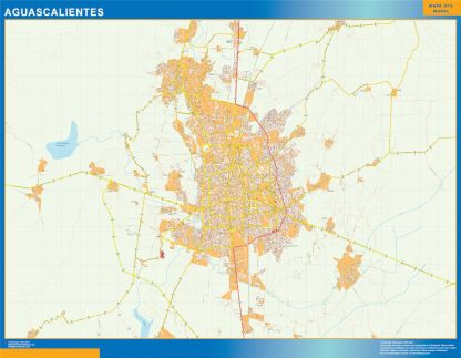 Mapa Aguascalientes en Mexico enmarcado plastificado