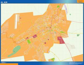 Mapa Al Ain enmarcado plastificado