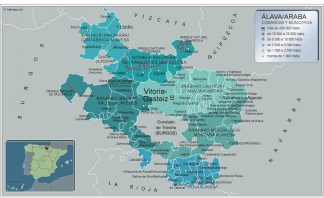Mapa Alava por municipios enmarcado plastificado