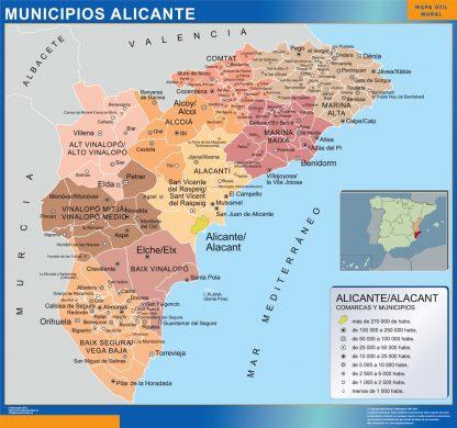 Mapa Alicante por municipios enmarcado plastificado