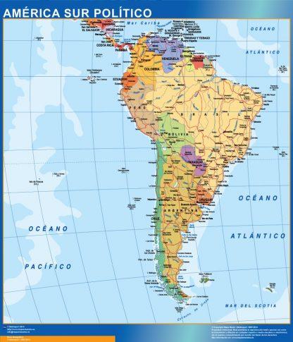 Mapa America Sur enmarcado plastificado