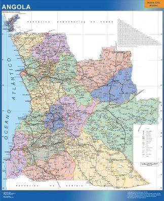 Mapa Angola enmarcado plastificado