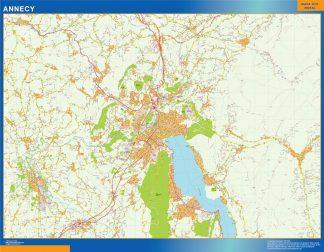 Mapa Annecy en Francia enmarcado plastificado