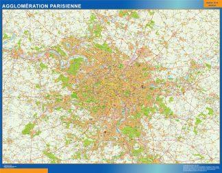 Mapa Area Paris en Francia enmarcado plastificado