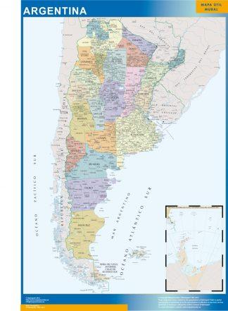 Mapa Argentina enmarcado plastificado