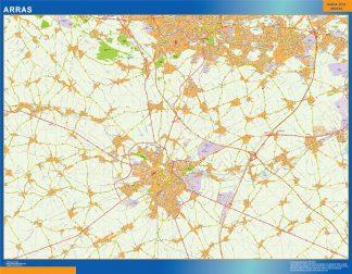 Mapa Arras en Francia enmarcado plastificado