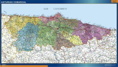Mapa Asturias comarcal enmarcado plastificado