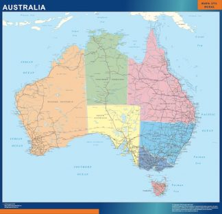 Mapa Australia enmarcado plastificado
