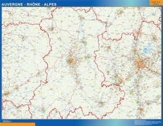 Mapa Auvergne Rhone Alpes en Francia enmarcado plastificado