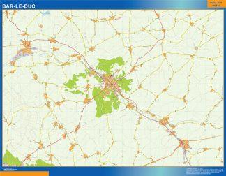Mapa Bar Le Duc en Francia enmarcado plastificado