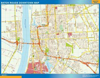 Mapa Baton Rouge downtown enmarcado plastificado