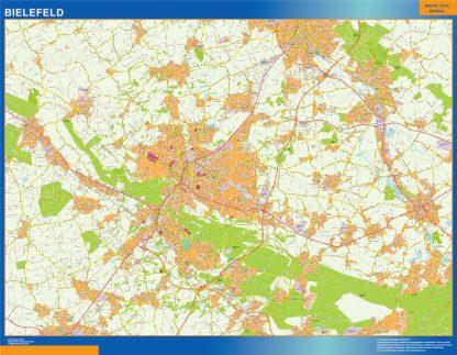 Mapa Bielefeld en Alemania enmarcado plastificado