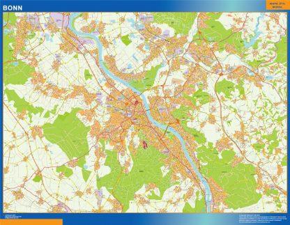 Mapa Bonn en Alemania enmarcado plastificado