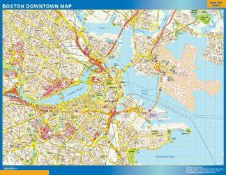 Mapa Boston downtown enmarcado plastificado