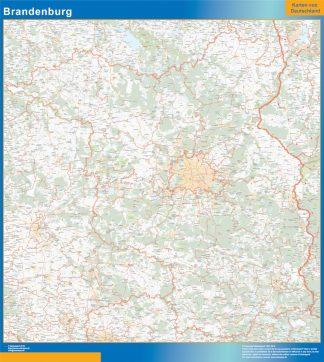 Mapa Brandenburgo enmarcado plastificado