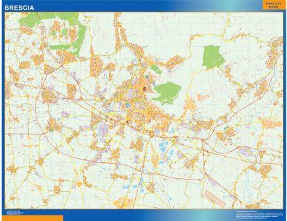 Mapa Brescia enmarcado plastificado