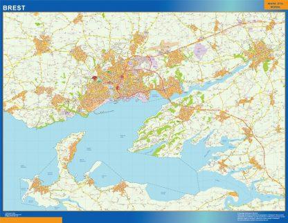 Mapa Brest en Francia enmarcado plastificado