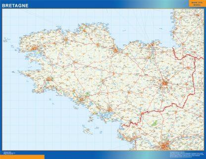 Mapa Bretagne en Francia enmarcado plastificado