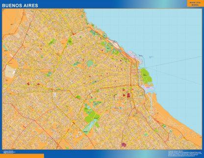 Mapa Buenos Aires en Argentina enmarcado plastificado