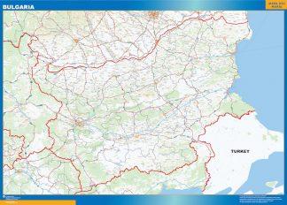 Mapa Bulgaria enmarcado plastificado