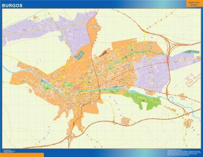 Mapa Burgos callejero enmarcado plastificado