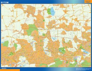 Mapa Bytom Polonia enmarcado plastificado