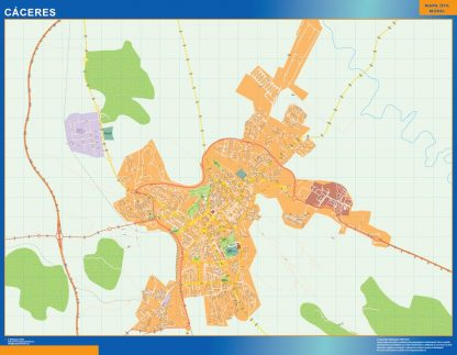 Mapa Caceres callejero enmarcado plastificado