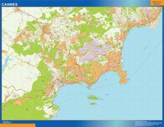 Mapa Cannes en Francia enmarcado plastificado