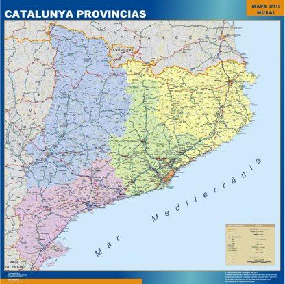 Mapa Cataluña provincias enmarcado plastificado