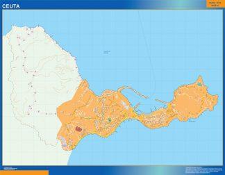 Mapa Ceuta callejero enmarcado plastificado
