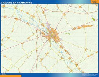 Mapa Chalons En Champagne en Francia enmarcado plastificado