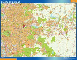 Mapa Champs Sur Marne en Francia enmarcado plastificado