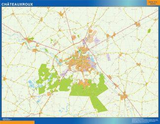 Mapa Chateauxroux en Francia enmarcado plastificado