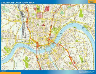 Mapa Cincinnati downtown enmarcado plastificado