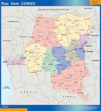 Mapa Congo enmarcado plastificado
