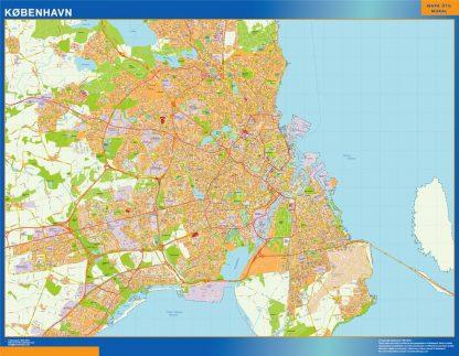 Mapa Copenhague en Dinamarca enmarcado plastificado