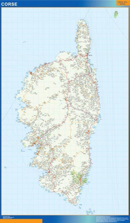 Mapa Corse en Francia enmarcado plastificado
