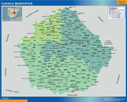 Mapa Cuenca por municipios enmarcado plastificado